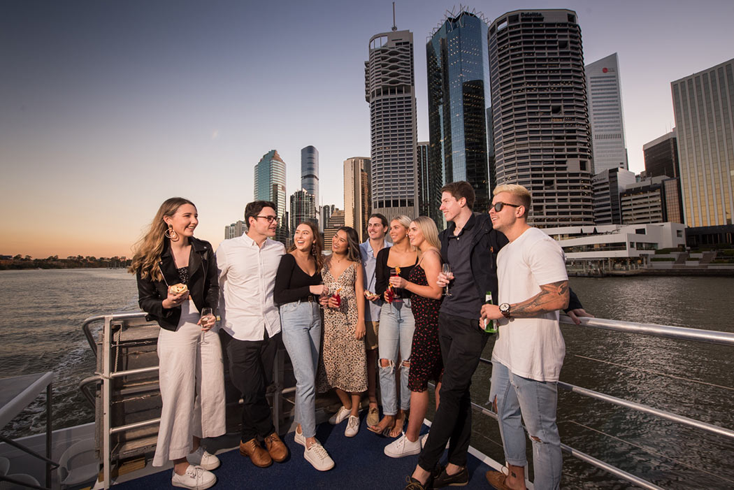 Friends on Brisbane twilight cruise with Mirimar Cruises