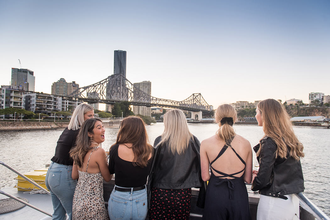 Friends enjoying the view Brisbane twilight cruise with Mirimar Cruises